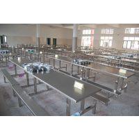 贵州食堂桌椅,简约现代不锈钢连体桌椅定制厂