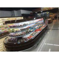 酸奶鲜奶冷藏柜,超市中心立风柜,四面开放水果展示柜