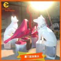 定制 商场美陈 玻璃钢 动物雕塑 装饰橱窗道具