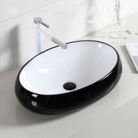 彩色椭圆形陶瓷高冷黑色卫浴彩色陶瓷台上盆洗手盆