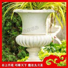 石雕花盆制作 欧式现代花钵 手工雕刻石材花钵