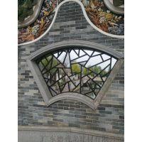 大学城校区仿古铝合金漏窗 浙江宁波朱红色铝漏窗