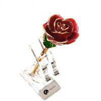 黛雅24K镀金玫瑰花 外贸定制红色 实力厂家定制款批发