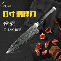 厂家直销进口VG10日本大马士革刀8寸厨师刀不锈钢刀厨房专业刀具