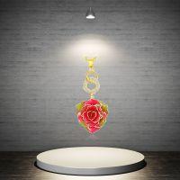 热销欧美时尚镀金真玫瑰吊坠 天然玫瑰花工艺品黛雅厂家直销