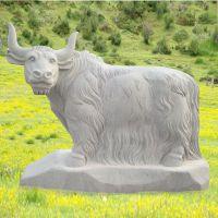 石雕牛大理石户外风水镇宅生肖牦牛雕塑摆件曲阳万洋雕刻厂家定做