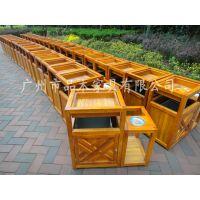 供应广州品木户外双桶不锈钢实木垃圾桶