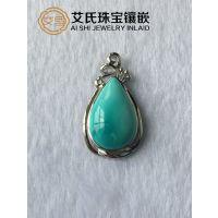 原矿绿松石的加工方法,绿松石专业镶嵌定制首饰