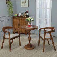麦德嘉MDJ-OS08可定制欧式复古全实木小圆桌餐桌椅组合新古典餐厅实木餐桌圆桌