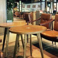 西安咖啡厅主题圆桌星巴克实木圆桌定做