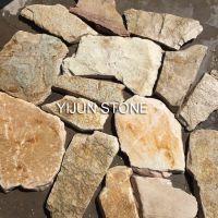 依君天然优质板岩黄色自然纹理石材 园林铺路石 景观铺地石 墙石