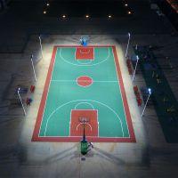 中山市户外篮球场照明灯杆安装 led室外照明球场灯光设计 柏克厂家上门安装