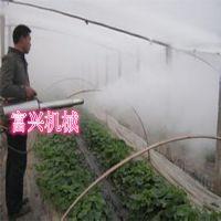 烟雾缭绕的弥雾机 大棚草莓生态园保湿烟雾机效果图