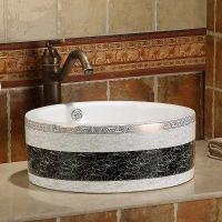 卫浴中式圆形陶瓷大气冷色系洗手间台上洗脸盆洗手盆
