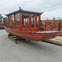仿古木船厂家供应观光船 水库游玩船 仿古木船 电动画舫船