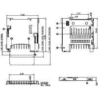 SOFNG push-pushTF卡座 TF-009 外形尺寸:14.9mm*14.1mm*1.4