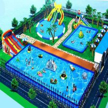 河南支架游泳池大型水上乐园项目加厚PVC充气水滑梯搭配使用