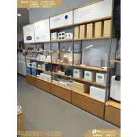小米之家木纹层板配件柜批发,小米实体店展台生产厂家