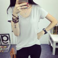 夏季白色大板阿里巴巴地摊网批发库存女式纯色V领T恤ACHIELRY时尚韩版清货