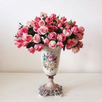 欧式秋色小玫瑰仿真花假花绢花客厅装饰花家居摆设摆件花束