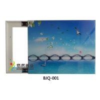 悠然电表箱装饰画 客厅冰晶玻璃无框画 可推拉遮挡配电箱装饰画工艺画厂家