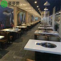 深圳烤涮一体桌定做 有火锅也有烧烤的桌椅家具批发 韩式风格