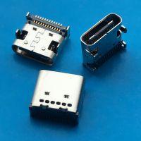 16pin/TYPE-C 母座 双面插 板上C型 四脚插板 前插后贴dip+SMT TYPE C 母
