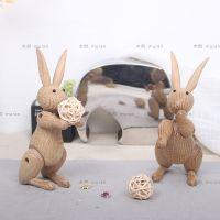 北欧工艺品摆件创意家居摆设兔子木偶实木生日礼物木质玩偶礼品