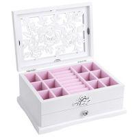镂空白色居家首饰盒收纳 双层陶瓷花珠宝盒戒指项链jewelry boxes