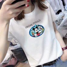 女式T恤批发纯棉白色打底衫短袖T恤女 夏季女装大码宽松韩国上衣