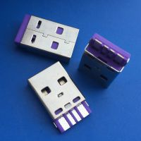 USB AM焊线式大电流公头/A公紫色胶芯/华为焊线公头/5A插头