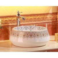 直销陶瓷彩金彩色中东欧式圆盆洗手盆台上盆