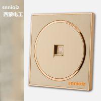 供应snnioiz86型圆香槟金无框开关面板电视网络网线插座TV电脑插座