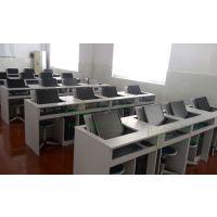 翻转电脑桌 单人台式多媒体电教室学生培训桌 隐藏显示器电脑课桌