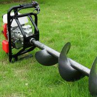 手推带轮子的植树刨坑机 轻便钻孔机 富兴牌挖坑机价格
