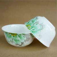 厂家批发陶瓷餐具散件 骨瓷4.5寸米饭陶瓷碗 瓷碗定制画面logo