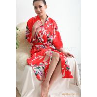 日式和服浴衣仿真丝孔雀花浴袍