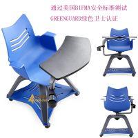 供应深圳众晟家具ZS-WINNER可360度旋转会议培训椅 塑料学生椅带写字板