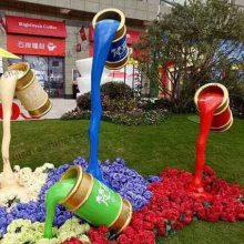 流动油漆桶雕塑环保涂料倒地上造型雕像玻璃钢动态油漆模型树脂涂料桶道具园林公园景观摆件