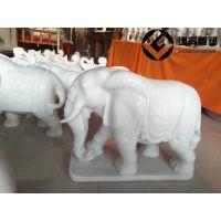 汉白玉石雕小象摆件 工艺品室内摆件象一对
