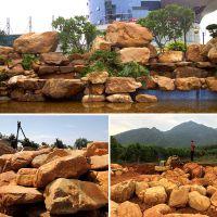 假山石、黄蜡石假山批发、校园景观黄蜡石