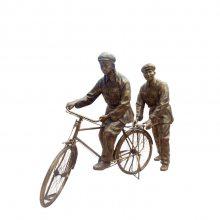 旧上海文艺青年男女骑老式自行车造型铸铜雕像知青人物骑单车树脂玻璃钢仿铜雕塑城市园林摆件