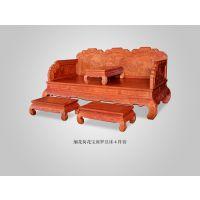山东泰安大清御品红木家具大果紫檀荷花宝座罗汉床4件