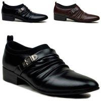 秋季新款时尚潮流男款商务皮鞋正装男鞋子尖头厚底增高鞋