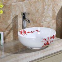洗手间台上清新圆形阳台酒店别墅手绘釉下中国红梅花中式陶瓷艺术洗手盆洗手池41CM台盆