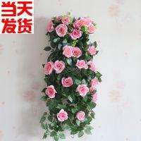 仿真玫瑰花藤壁挂卧室墙壁装饰创意假花藤条室内装饰客厅塑料绢花