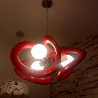 供应玛斯欧现代简约大号中国结红色喷漆餐厅装饰吊灯条形艺术设计三头LED灯泡吊灯MS-P1021L