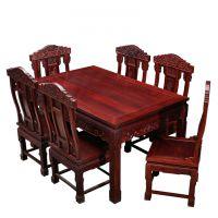 厂家直销红木家具_古典中式【金玉满堂餐桌】巴里黄檀(花枝)成套餐桌椅