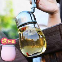 企鹅玻璃杯学生透明水杯定制创意杯子定制便携随手杯花茶杯女印字