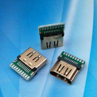 夹板母座 HDMI高清连接器(PCB)板 19P 母座夹板式 1.6间距 镀金